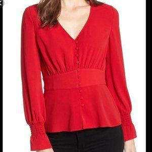 CHELSEA28 Nordstrom red V-neck LS blouse | S | NWT